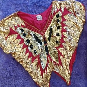 PAM IMPORTS Vintage Retro Sequin Butterfly Top